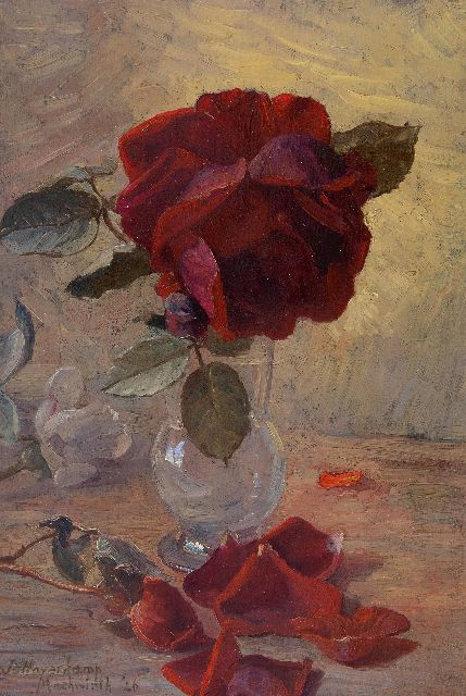 Johanna Haverkamp-Machwirth | A still life with roses, oil on panel, 32.9 x 22.5 cm, signed l.l. and dated '26