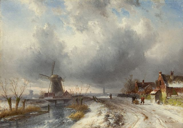 Leickert C.H.J.  | Extensive winter landscape with figures on a snowy path, oil on canvas 44.0 x 62.7 cm, signed l.r.