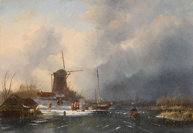 Hoen C.P. 't | Skaters and figures on the ice, a snowstorm approaching, oil on panel, 41.3 x 58.8 cm, signed l.l. on the boathouse and dated 1854
