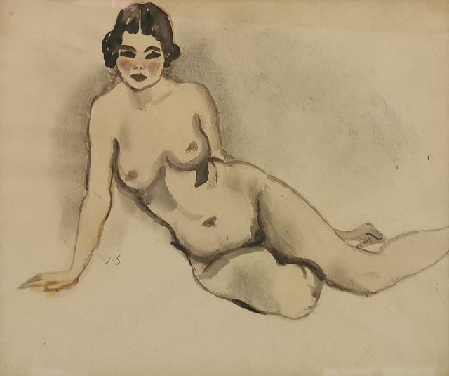 Sluijters J.C.B.  | Nude, pencil and watercolour on paper 22.5 x 30.0 cm, signed c.l. with initials