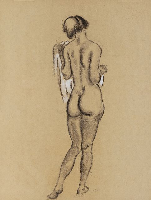 Jan Sluijters | Standing female nude, seen on the back, charcoal and watercolour on paper, 61.9 x 47.6 cm, signed l.c. with initials and executed ca. 1920