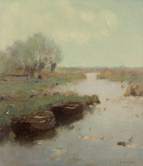 Knikker A.  | Moored rowing boats in a canal, oil on painter's board 25.4 x 21.4 cm, signed l.r.
