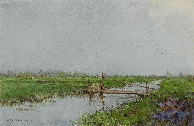 Johan Hendrik van Mastenbroek | Board across a ditch, oil on panel, 16.2 x 24.7 cm, signed l.l. and dated 1942