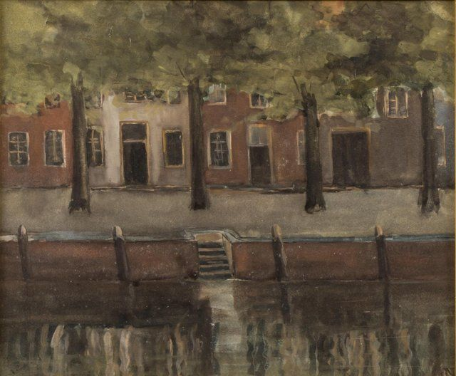 Jakob Nieweg | A quay with the reflection of houses in the water, watercolour on paper, 27.0 x 32.0 cm, signed l.r. with monogram