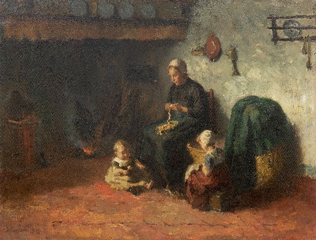 Bernard de Hoog | A farm interior in Laren  with mother and children, oil on canvas, 50.0 x 65.5 cm, signed l.l.
