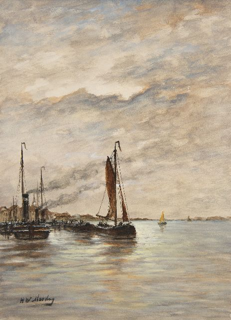 Hendrik Willem Mesdag | Fishing vessels in a harbour, watercolour on paper, 43.2 x 31.8 cm, signed l.l.