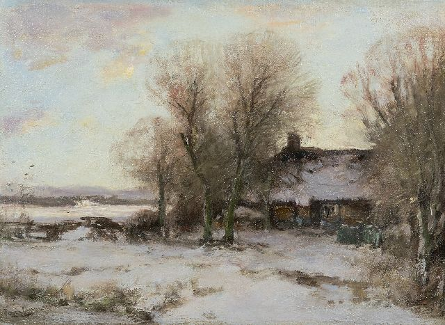 Louis Apol | Farmhouse in a snowy landscape, oil on canvas, 34.3 x 46.2 cm, signed l.l.