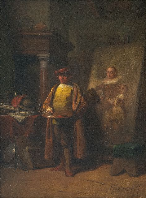 Hendricus Johannes Scheeres | Rembrandt in his studio, oil on panel, 20.5 x 15.0 cm, signed l.r. and painted '57