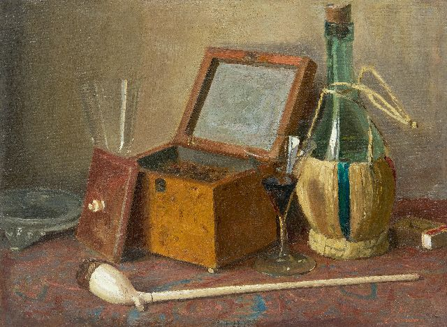 Jan Altink | Still life with tobacco box, pipe and wine bottle, oil on canvas, 30.3 x 40.3 cm, signed l.r.