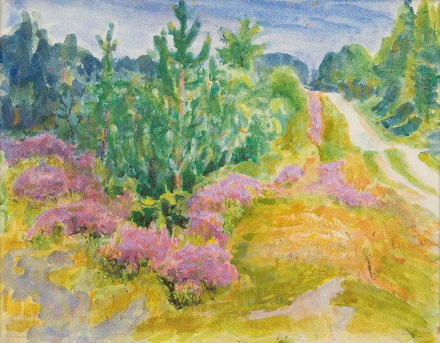 Jan Altink | Country road through pine forest and flowering heather, watercolour on paper, 54.9 x 69.8 cm