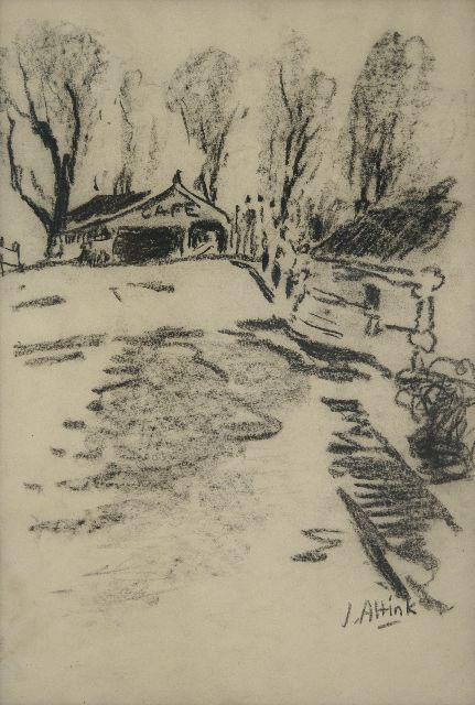 Jan Altink | Café near the bridge in Steentil, charcoal on paper, 48.5 x 33.5 cm, signed l.r. and executed ca. '56