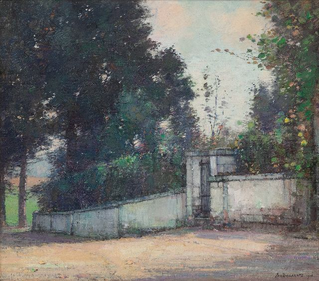 Jan Bogaerts | Garden wall with a gate, oil on canvas, 35.1 x 40.0 cm, signed l.r. and dated 1916