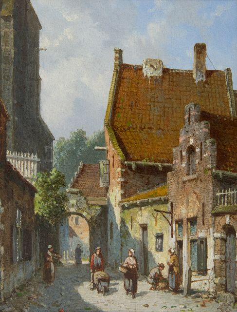 Adrianus Eversen | A sunny street behind the church, oil on panel, 19.1 x 14.9 cm, signed l.r. with monogram and on the reverse in full