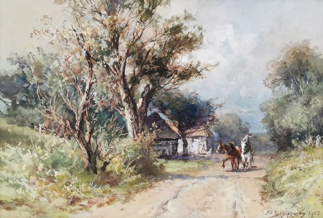 Piet Schipperus | A farmer and horses on a country road, watercolour on paper, 24.5 x 35.0 cm, signed l.r. and dated 1918