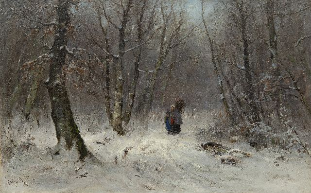 Louis Apol | Gathering wood in a snowy forest, oil on canvas, 45.8 x 70.7 cm, signed l.l. and painted 1873-1875