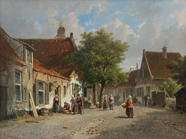 Eversen A.  | A sunny, busy village view, oil on panel 33.0 x 43.9 cm, signed l.l.