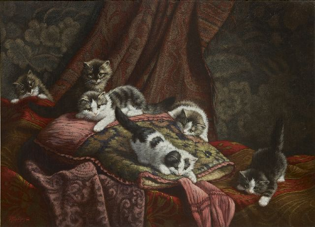 Cornelis Raaphorst | Six kittens playing in an interior, oil on canvas, 60.1 x 80.3 cm, signed l.l.