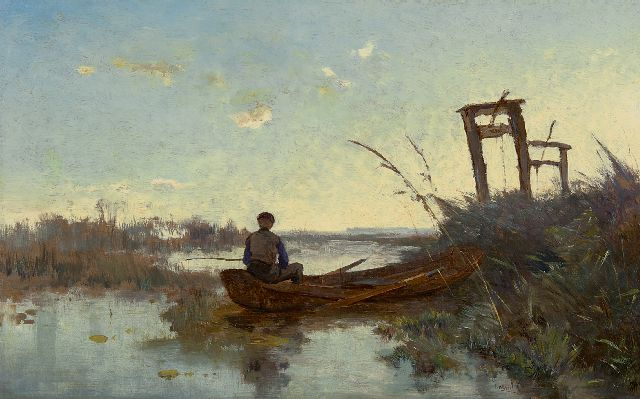 Paul Joseph Constantin Gabriel | Fisherman in a Dutch landscape, oil on canvas, 29.0 x 46.4 cm, signed l.r. and painted ca. 1875