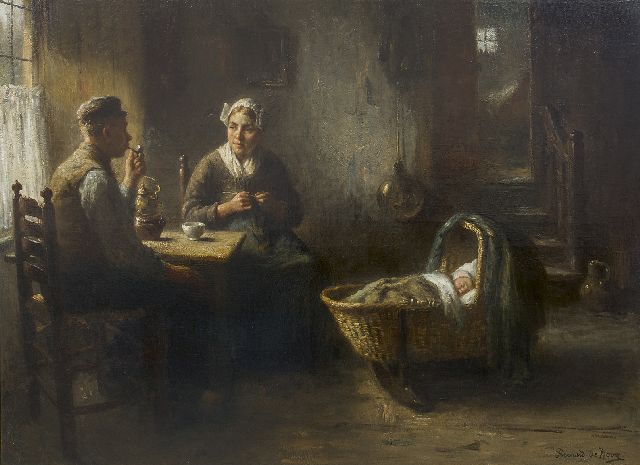 Bernard de Hoog | A farmer's interior, Laren, oil on canvas, 96.0 x 126.2 cm, signed l.r.
