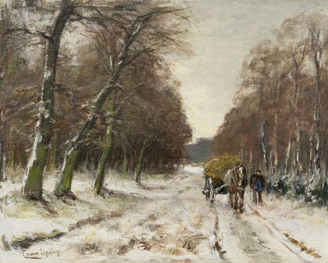 Louis Apol | Man with hay cart in a snowy forest, oil on canvas, 32.6 x 40.5 cm, signed l.l.