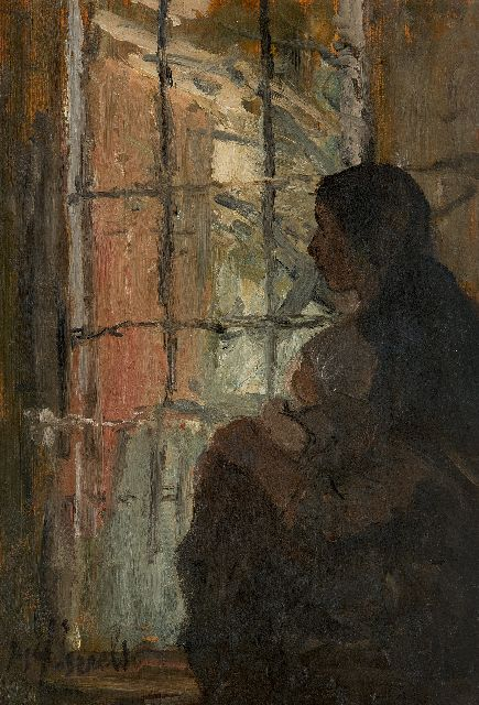 Jozef Israëls | Mother and child at the window, oil on panel, 38.6 x 27.1 cm, signed l.l.