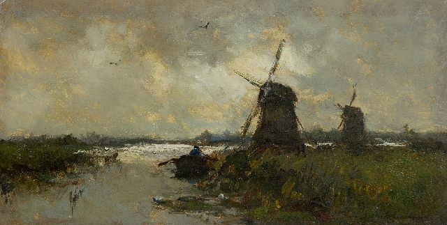 Weissenbruch H.J.  | Windmills in a polder landscape, oil on panel 16.9 x 33.0 cm, signed l.r. and painted in the 1890's
