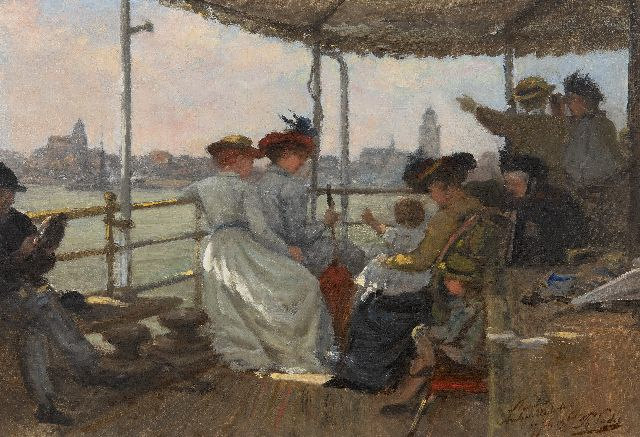 Sadée P.L.J.F.  | Daytrip on the steamship from Arnhem to the Westerbouwing, oil on canvas laid down on panel 34.6 x 50.0 cm, signed l.r. and dated 27 juli 1900