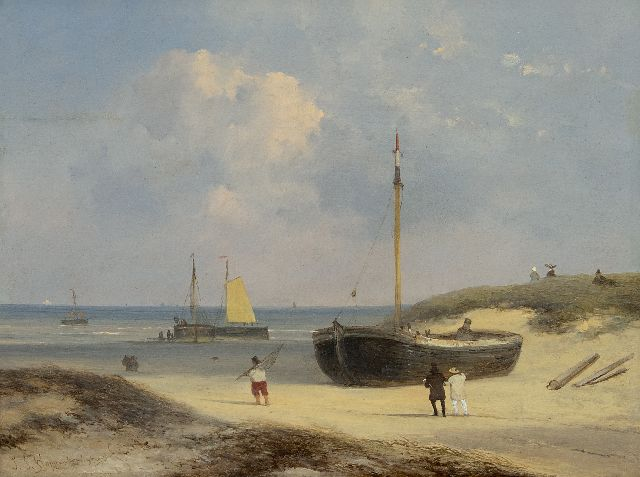 Johannes Franciscus Hoppenbrouwers | Elegant figures, fishermen and fishing boats on the beach at Scheveningen, oil on panel, 22.4 x 29.0 cm, signed l.l.