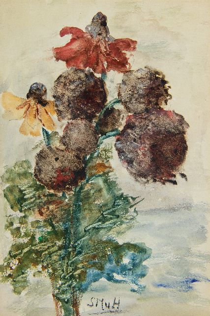 Sientje Mesdag-van Houten | Garden flowers with Cone-flowers, watercolour on paper, 27.3 x 18.2 cm, signed l.c. with Initials