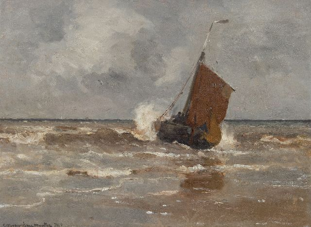 Munthe G.A.L.  | A fishing barge leaving the beach, Katwijk, oil on canvas 58.0 x 78.1 cm, signed l.l. and dated 1910