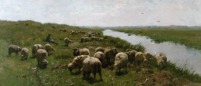 Anton Mauve | A shepherd and flock in the dunes, oil on canvas, 58.4 x 111.7 cm, signed l.l.