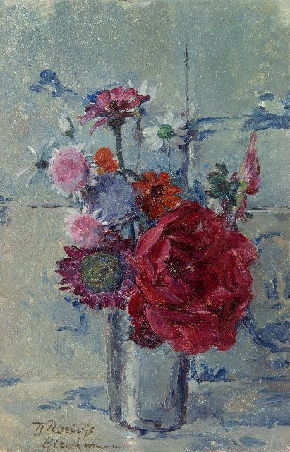 Tjieke Roelofs-Bleckmann | Summer flowers in a vase, oil on panel, 29.8 x 18.8 cm, signed l.l.