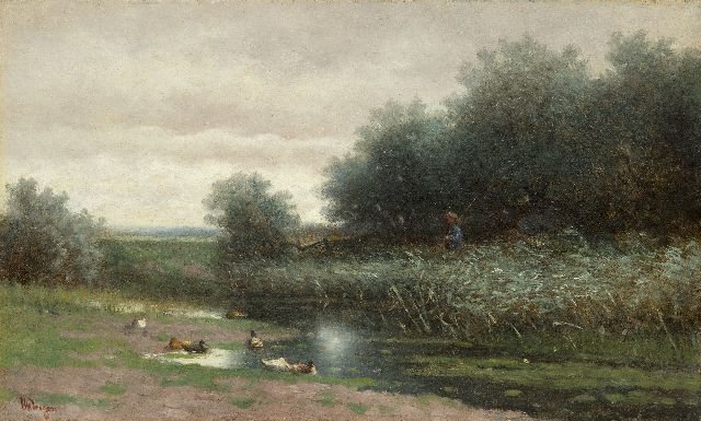 Hendrikus Alexander van Ingen | A polder landscape with angler, oil on canvas, 30.7 x 50.2 cm, signed l.l.