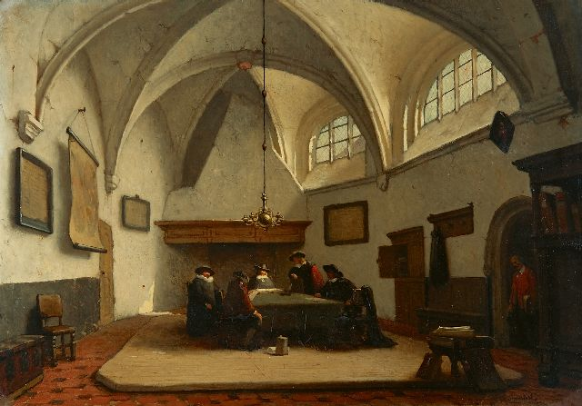 Jan Jacob Schenkel | Aldermen gathered in the consistory room of the Grote Kerk, Breda, oil on panel, 39.4 x 55.8 cm, signed l.r.