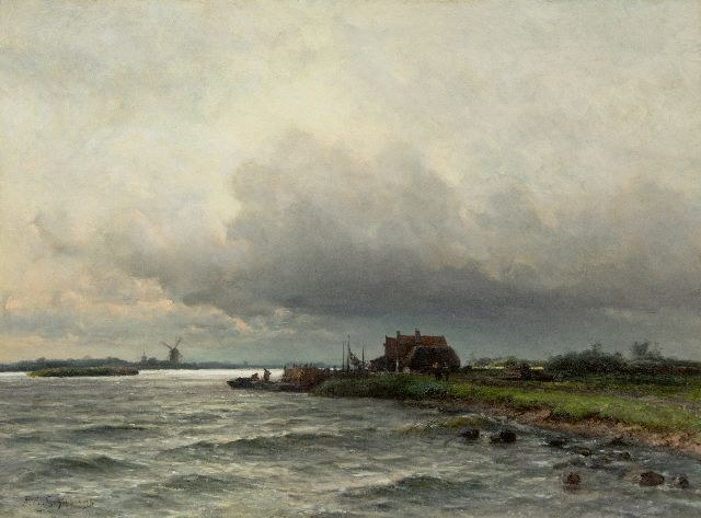 Piet Schipperus | River under a Dutch cloudy sky, oil on canvas, 60.5 x 80.5 cm, signed l.l. and on a label on the stretcher