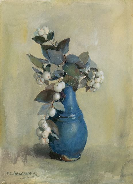 Elise Arntzenius | Snow berries in a blue vase, gouache on paper, 36.8 x 27.3 cm, signed l.l.