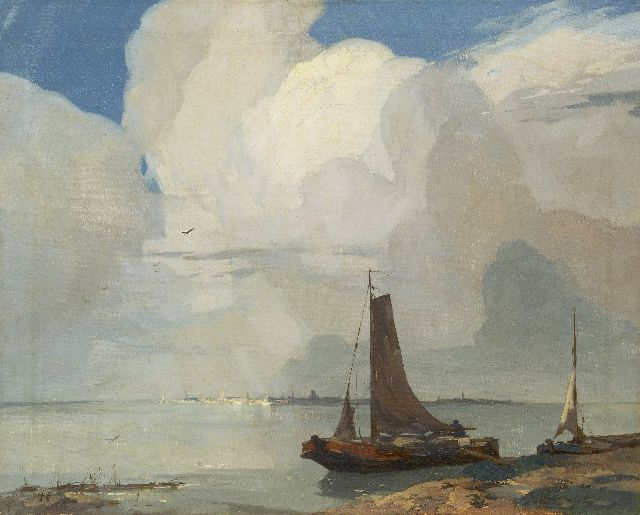 Adriaan van 't Hoff | Fishing boats on the waterfront, a city in the distance, oil on canvas, 60.2 x 75.5 cm, signed l.l. and dated 1927