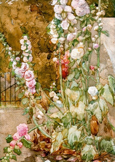 August Allebé | hollyhocks, watercolour on paper, 35.0 x 25.0 cm, signed l.r. and dated 1876