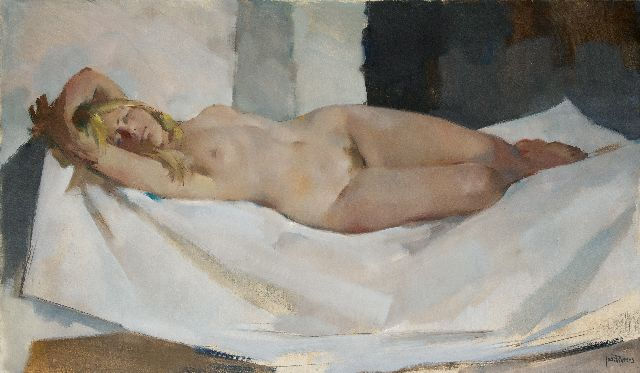 Rovers J.J.  | Female nude, oil on canvas, 100.0 x 170.0 cm, signed l.r.