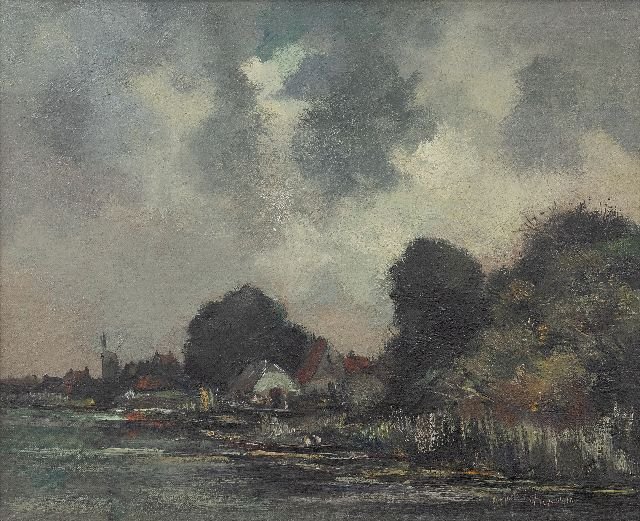 Markus A.  | Village on a stream, oil on canvas 38.3 x 47.4 cm, signed l.r. and dated 1915 'Oosterbeek'