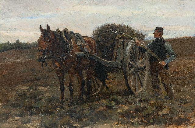 Jan Hoynck van Papendrecht | A farmer with horse and cart in the fields, oil on canvas, 32.6 x 48.9 cm, signed l.r. and on a label on the stretcher and dated 1890