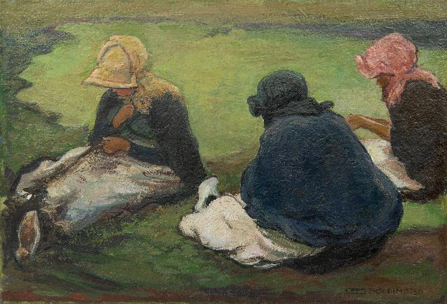 Bolding C.  | Mending the nets, Scheveningen, oil on canvas 23.7 x 34.3 cm, signed l.r. and dated 1930