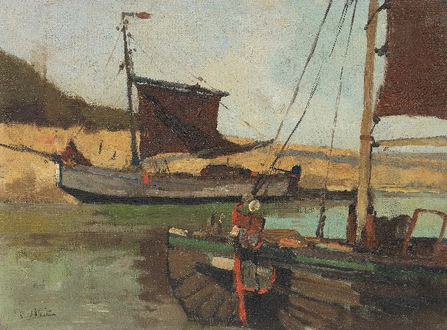Leendert van der Vlist | Fishing barges moored in a canal, oil on canvas laid down on panel, 26.9 x 36.5 cm, signed l.l.