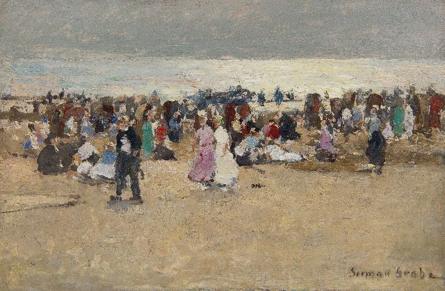 German Grobe | Colourful gathering on the beach of Katwijk, oil on panel, 23.9 x 36.0 cm, signed l.r.