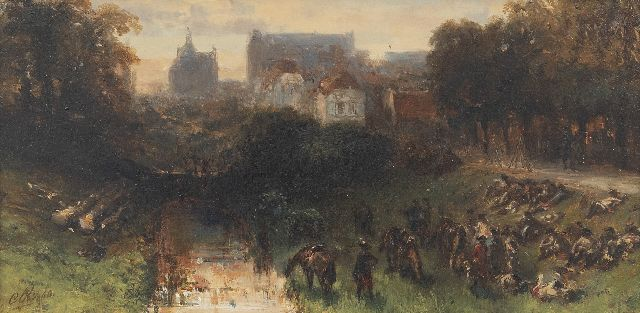 Charles Rochussen | Resting French soldiers near a Dutch town, oil on panel, 11.6 x 23.1 cm, signed l.l. with initials and dated '50