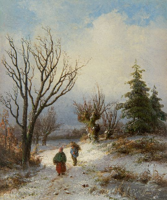 Hendrik Manfried Haus | Gathering wood on a snowy path, oil on panel, 17.7 x 15.1 cm, signed l.r.