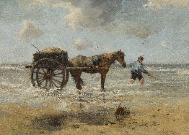 Johan Frederik Cornelis Scherrewitz | Shrimp fisherman, oil on canvas, 60.2 x 85.0 cm, signed l.r.