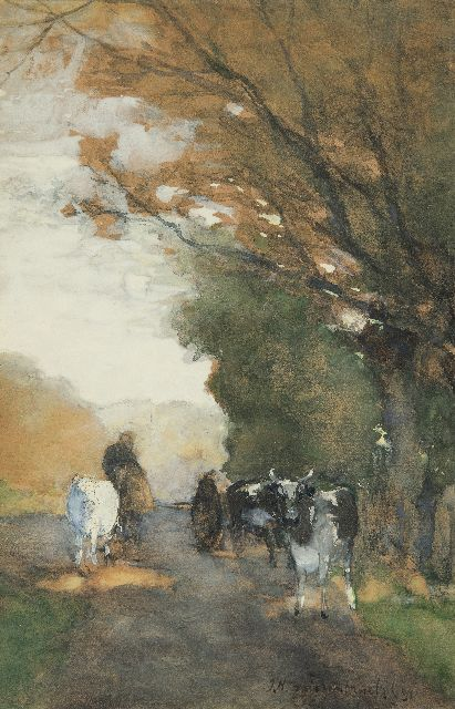 Johan Hendrik Weissenbruch | Cows on a path along the edge of a forest, watercolour on paper, 35.3 x 22.8 cm, signed l.r. and dated '91