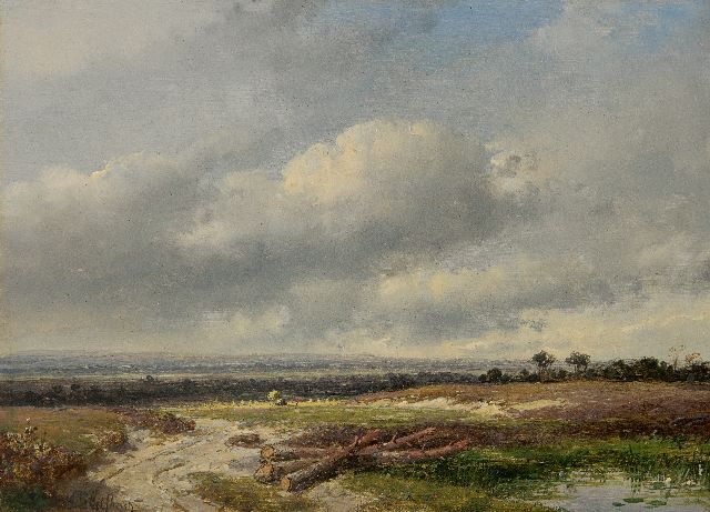 Andreas Schelfhout | Panoramic landscape under a Dutch sky, oil on panel, 17.8 x 24.0 cm, signed l.l.