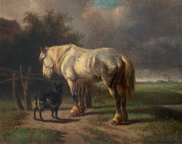 Wouterus Verschuur | Horse and goat near a fence, oil on panel, 23.0 x 29.2 cm, signed l.l.